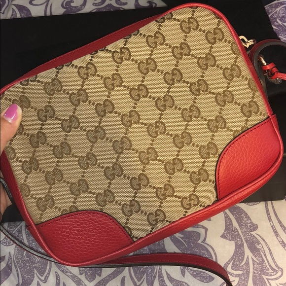 New Gucci canvas crossbody red bag